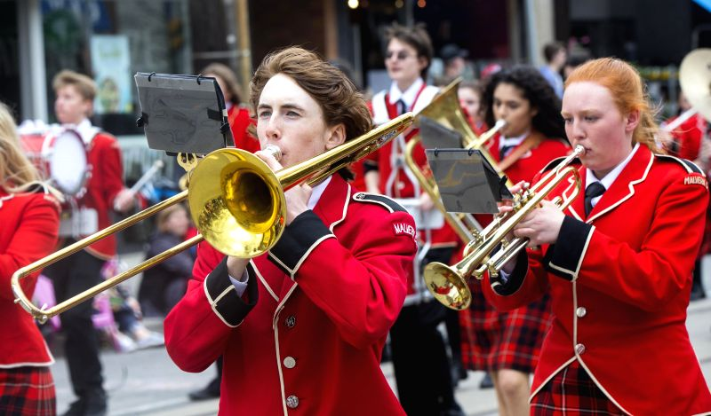 TORONTO, April 17, 2017 - A band performs during the 2017 Toronto Beaches Lions Easter Parade in Toronto, Canada, April 16, 2017. The annual parade took place on Easter Sunday to draw tens of ...