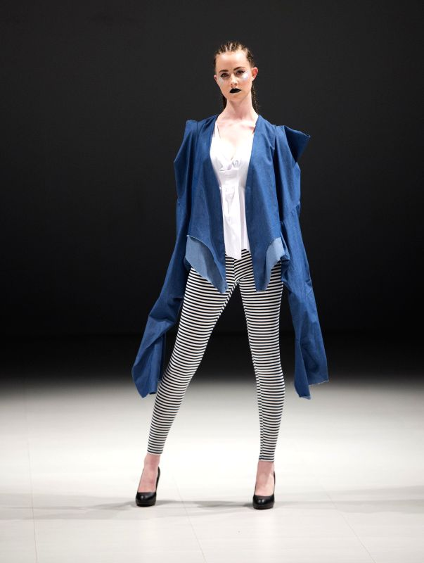 TORONTO, April 22, 2017 - A model presents a creation by Amplify Apparel during the 2017 Fashion Art Toronto event in Toronto, Canada, April 21, 2017.
