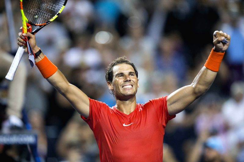 TORONTO, Aug. 10, 2018 - Rafael Nadal of Spain celebrates victory after the men's singles third round match against Stan Wawrinka of Switzerland at the 2018 Rogers Cup in Toronto, Canada, Aug. 9, ...