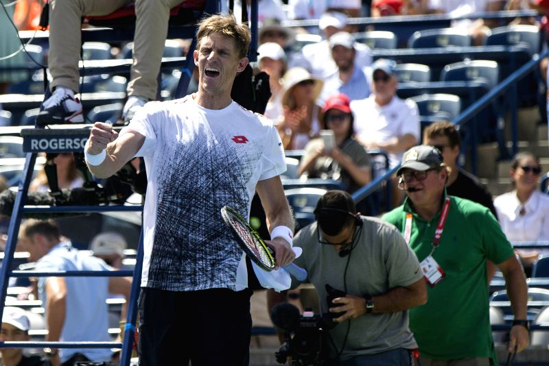 TORONTO, Aug. 11, 2018 - Kevin Anderson of South Africa celebrates victory after the quarterfinal match of men's singles against Grigor Dimitrov of Bulgaria at the 2018 Rogers Cup in Toronto, Canada, ...