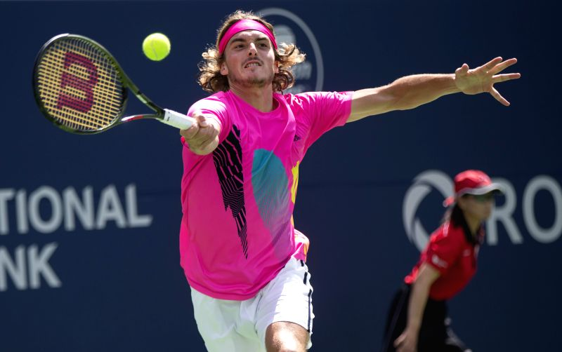 TORONTO, Aug. 11, 2018 - Stefanos Tsitsipas of Greece returns the ball against Alexander Zverev of Germany during the quarterfinal match of men's singles at the 2018 Rogers Cup in Toronto, Canada, ...