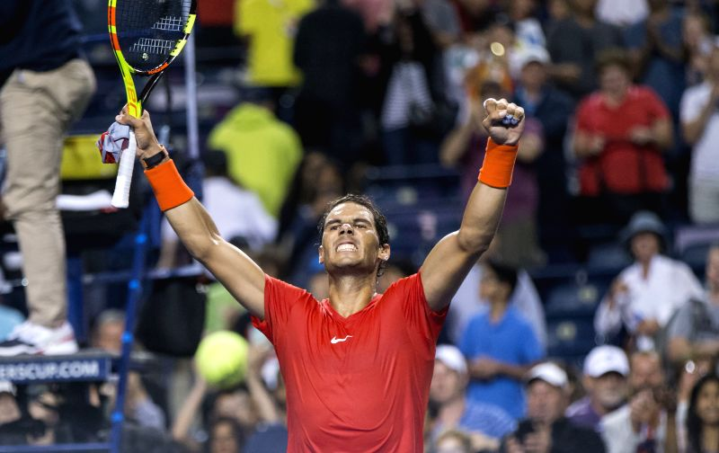 TORONTO, Aug. 12, 2018 - Rafael Nadal of Spain celebrates victory after the semifinal match of men's singles against Karen Khachanov of Russia at the 2018 Rogers Cup in Toronto, Canada, Aug. 11, ...