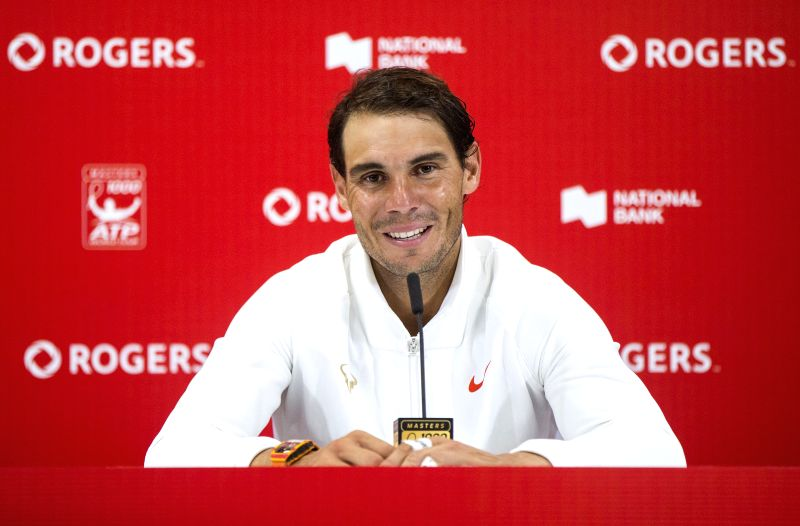 TORONTO, Aug. 12, 2018 - Rafael Nadal of Spain attends press conference after the semifinal match of men's singles against Karen Khachanov of Russia at the 2018 Rogers Cup in Toronto, Canada, Aug. ...