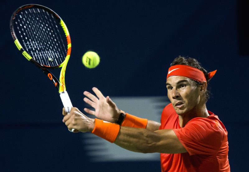 TORONTO, Aug. 12, 2018 - Rafael Nadal of Spain returns the ball against Karen Khachanov of Russia during the semifinal match of men's singles at the 2018 Rogers Cup in Toronto, Canada, Aug. 11, 2018. ...