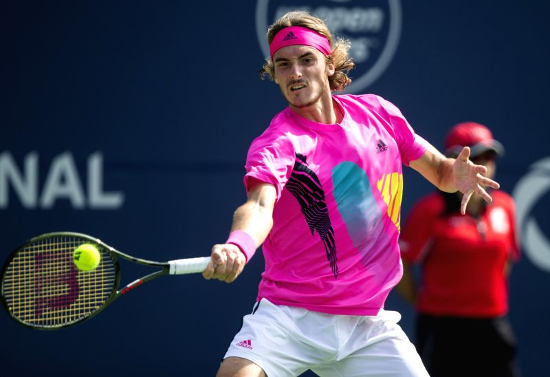 TORONTO, Aug. 12, 2018 - Stefanos Tsitsipas of Greece returns a shot to Kevin Anderson of South Africa during the semifinal match of men's singles at the 2018 Rogers Cup in Toronto, Canada, Aug. 11, ...