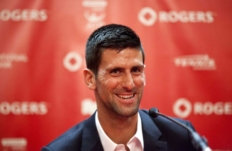 Novak Djokovic of Serbia speaks during the official draw for the 2014 Rogers Cup in Toronto, Canada, Aug. 1, 2014. This year's tournament for the men will take place