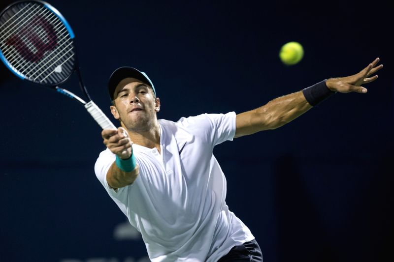 TORONTO, Aug. 8, 2018 - Borna Coric of Croatia hits a return during the second round of men's singles match against Marin Cilic of Croatia at the 2018 Rogers Cup in Toronto, Canada, Aug. 7, 2018. ...
