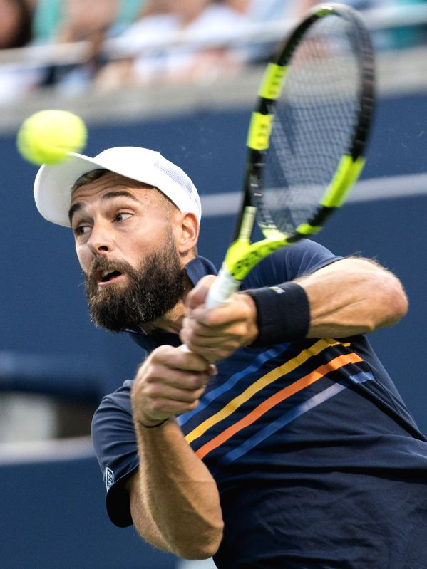 TORONTO, Aug. 9, 2018 - Benoit Paire of France hits a return during the second round of men's singles match aganist Rafael Nadal of Spain at the 2018 Rogers Cup in Toronto, Canada, Aug. 8, 2018. ...