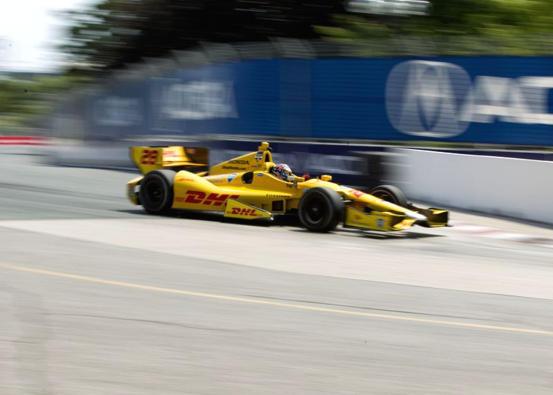 Andretti Autosports' American driver Ryan Hunter-Reay drives during the practice session of the 2014 Honda Indy Toronto of IndyCar Series race in Toronto, Canada, ..