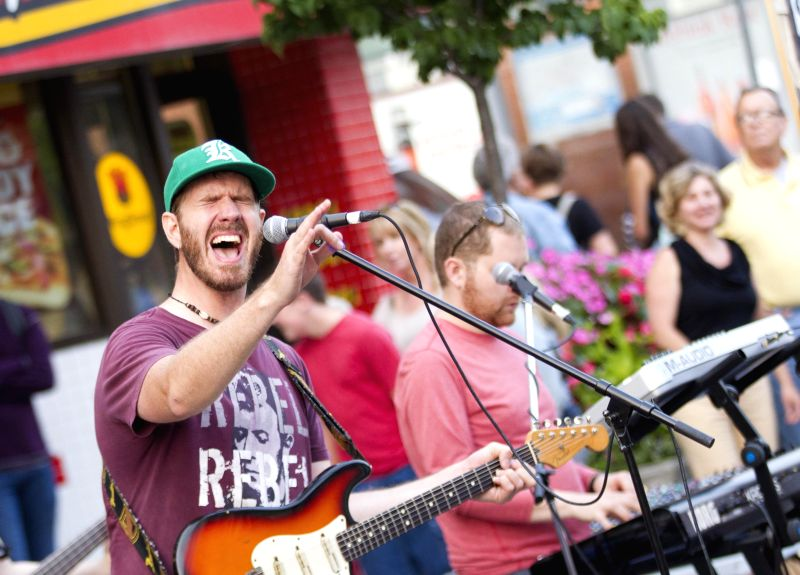 A band performs on a section of the Queen Street East during the 2014 Beaches International Jazz Festival Streetfest in Toronto, Canada, July 24, 2014. Kicked off ..