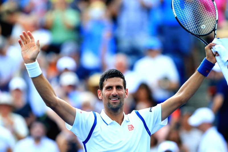 TORONTO, July 28, 2016 - Novak Djokovic of Serbia celebrates victory after the second round of men's singles match against Gilles Muller of Luxembourg at the 2016 Rogers Cup in Toronto, Canada, July ...