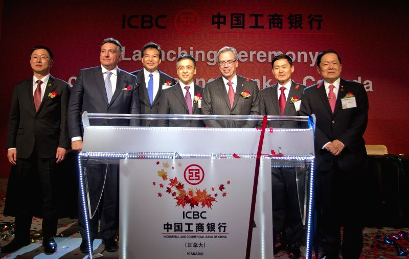 China's ICBC Vice President Gu Shu (C), Canadian Finance Minister Joe Oliver (3rd R), Chinese Ambassador to Canada Luo Zhaohui (3rd L) attend the launching ... - Joe Oliver