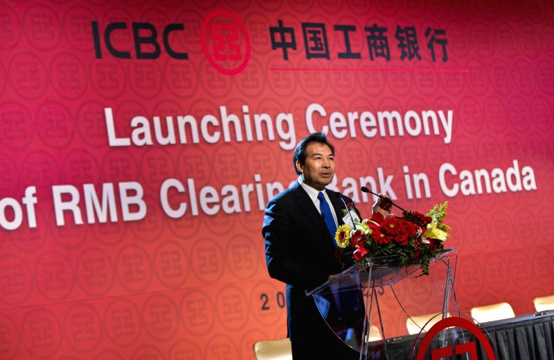 Chinese Ambassador to Canada Luo Zhaohui addresses the launching ceremony of China's ICBC RMB clearing bank in Canada, in Toronto March 23, 2015. ICBC Canada, a ...