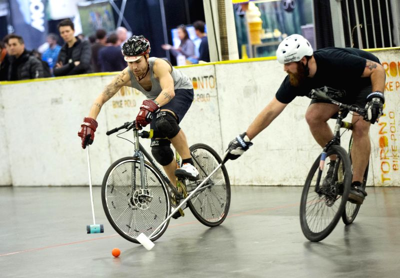 Participants compete during the Great Lakes Winter Classic 3 Bike Pole Tournament at Exhibition Place in Toronto, Canada, March 6, 2015. Kicked off on Friday, this ...