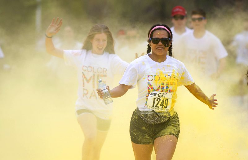TORONTO, May 13, 2017 - Participants take part in the 2017 Color Me Rad 5K Run event at Downsview Park in Toronto, Canada, May 13, 2017. Thousands of people participated in this annual event to enjoy ...