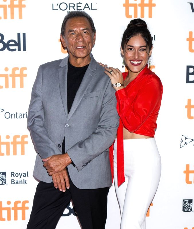 "TORONTO, Sept. 12, 2017 - Actress Q'orianka Kilcher (R) poses for photos with actor Wes Studi before the premiere of film ""Hostiles"" at Princess of Wales Theatre during the 2017 Toronto ... - Q"