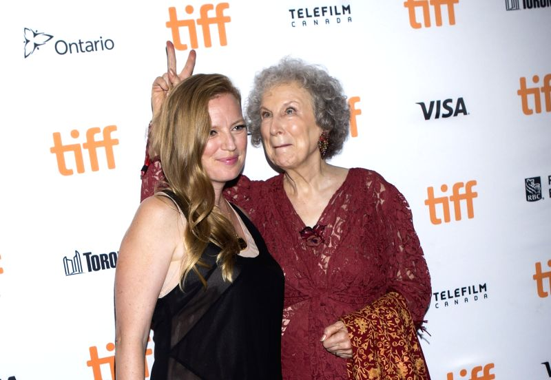 """TORONTO, Sept. 15, 2017 - Author Margaret Atwood (R) poses with screenwriter Sarah Polley at the world premiere of the film """"Alias Grace"""" at Elgin Theatre during the 2017 Toronto ..."""