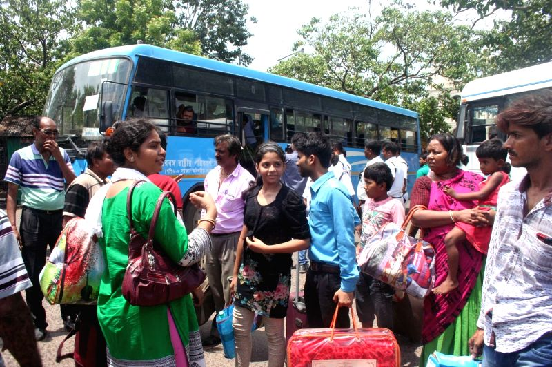 Tourists arrive in Kolkata from violence hit Darjeeling on June 10, 2017.