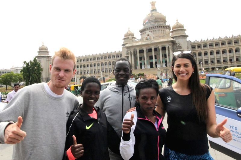 Track and field athletes Zane Robertson (New Zealand), Irene Chepet Cheptai (Kenya), Leonard Patrick Komon (Kenya) and former Australian swimmer Stephanie Louise Rice pose for a photograph ...