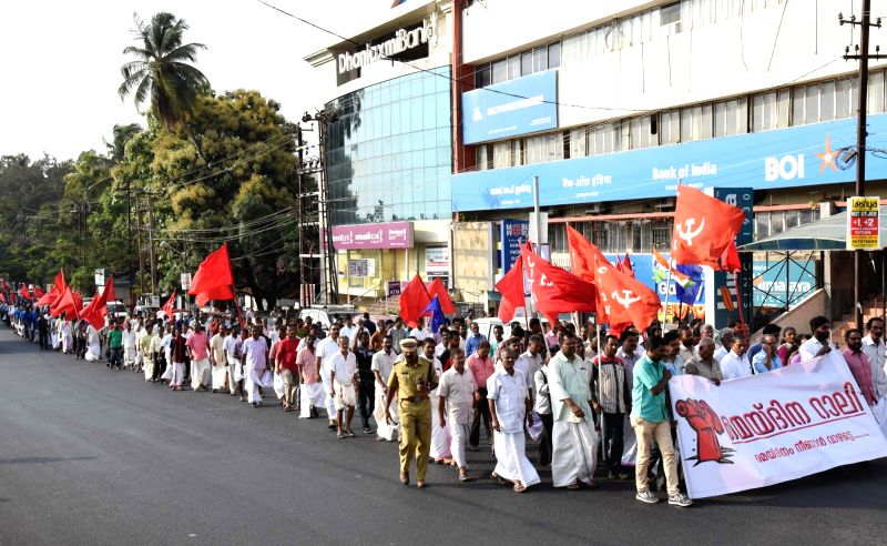 Trade Union members participate in a rally organised on International Workers' Day in Kochi on May 1, 2017.