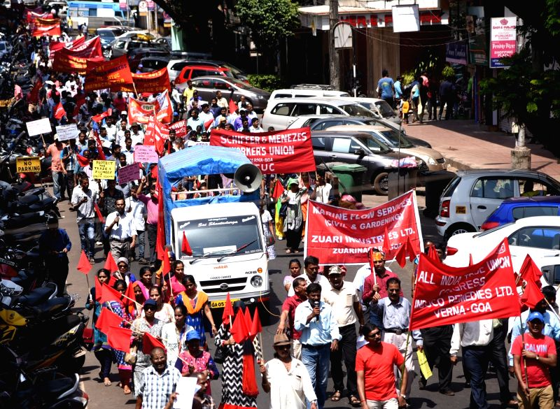 Trade Union members participate in a rally organised on International Workers' Day in Panaji on May 1, 2017.