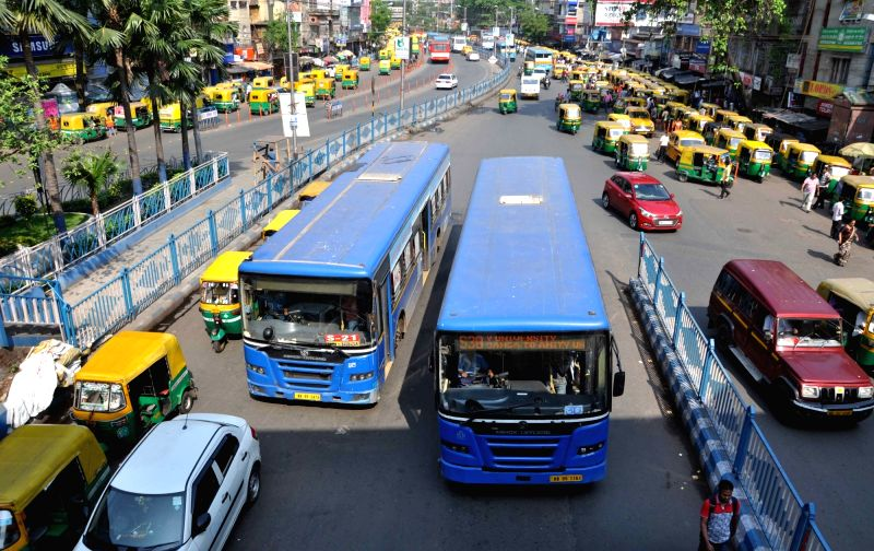 Traffic movement remains normal during 6-hr strike called by Left Front against violence over Panchayat nomination ahead of Panchayat polls in Kolkata on April 13, 2018.