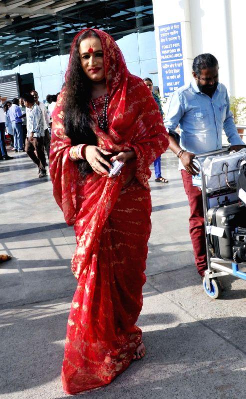 Transgender activist Laxmi Narayan Tripathi at the Raja Bhoj airport in Bhopal, on May 28, 2016. - Laxmi Narayan Tripathi