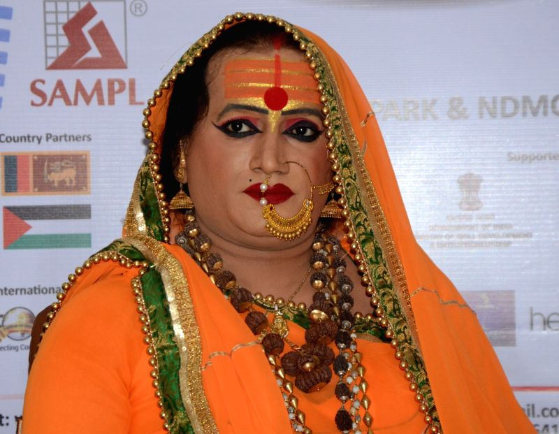 Transgender and social activist Laxmi Narayana Tripathi during a press conference at the Delhi International Film Festival on Dec 7, 2017. - Laxmi Narayana Tripathi