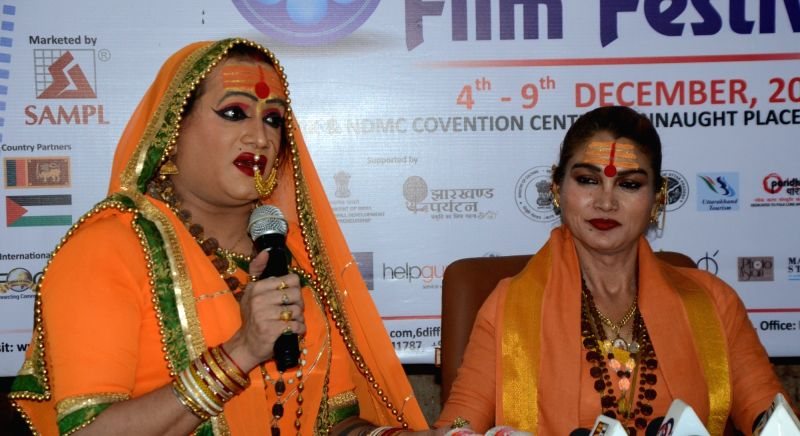 Transgender and social activists Laxmi Narayana Tripathi and Bhavani Maa during a press conference at the Delhi International Film Festival on Dec 7, 2017. - Laxmi Narayana Tripathi