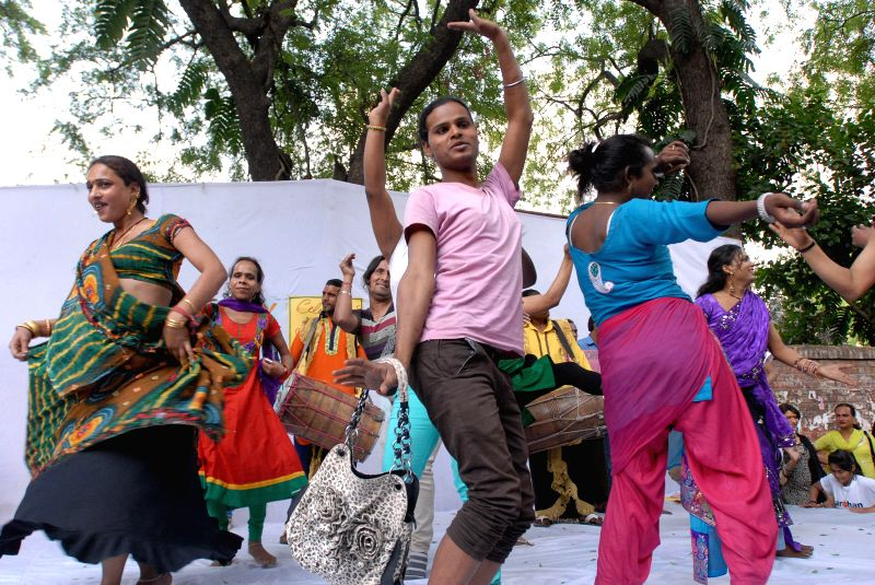 Transgenders celebrating for the recent ruling by the Supreme Court of India, for recognising transgenders as third gender in New Delhi on April 19, 2014.