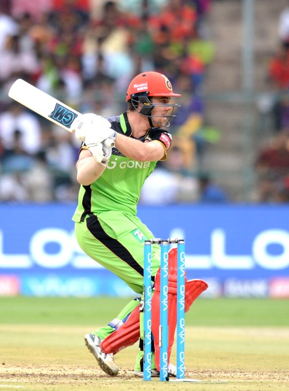 Travis Head of Royal Challengers Bangalore in action during an IPL 2017 match between Royal Challengers Bangalore and Kolkata Knight Riders at M Chinnaswamy Stadium in Bengaluru on May 7, ...