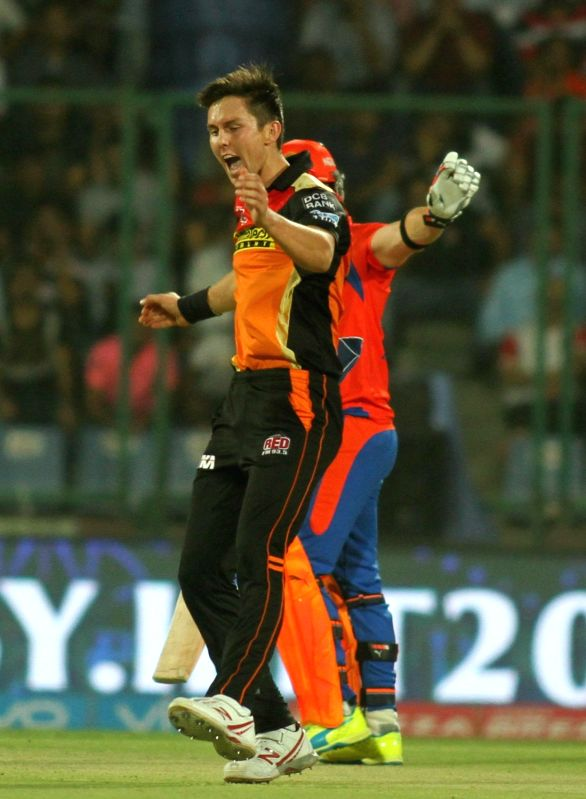 Trent Boult of Sunrisers Hyderabad celebrates fall of a wicket during Qualifier 2 of IPL 2016 between Gujarat Lions and Sunrisers Hyderabad at Feroz Shah Kotla Stadium in New Delhi on May ...