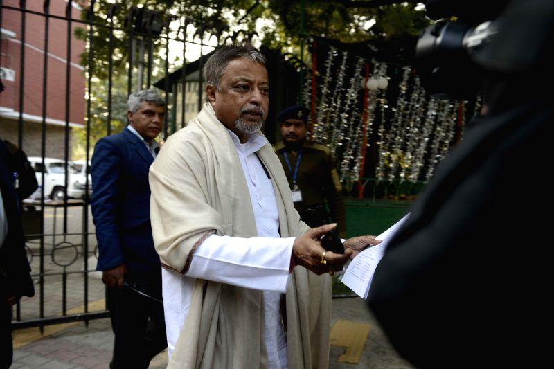 Trinamool Congress' All India General Secretary and Rajya Sabha member, Mukul Roy after meeting election commissioner in New Delhi, on Jan 16, 2015.