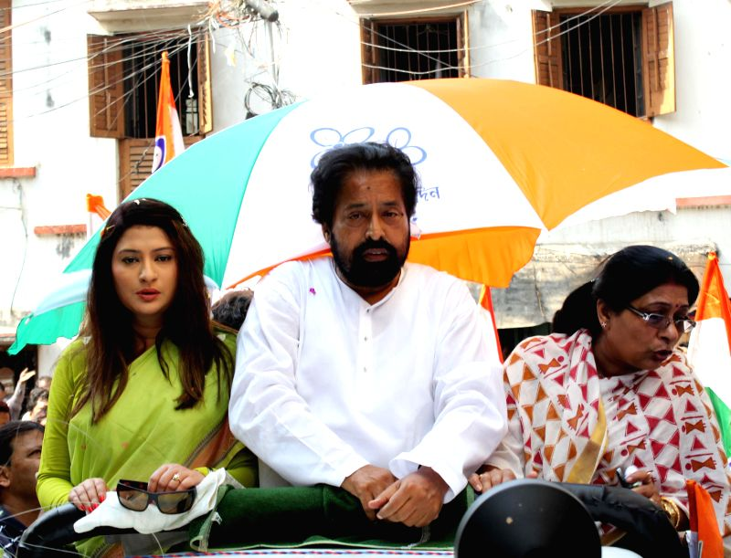 Trinamool Congress candidate for 2014 Lok Sabha Election from North Kolkata parliamentary constituency, Sudip Banerjee during an election campaign in Kolkata on April 22, 2014.