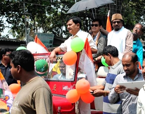 Trinamool Congress candidate for 2014 Lok Sabha Election from Darjeeling Lok Sabha seat, Bhaichung Bhutia during an election campaign in Islampur of West Bengal's Uttar Dinajpur district on April 22,