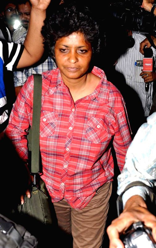 Trinamool Congress candidate for 2014 Lok Sabha Election from Balurghat, Arpita Ghosh comes out of the Enforcement Directorate in Kolkata on April 25, 2014.