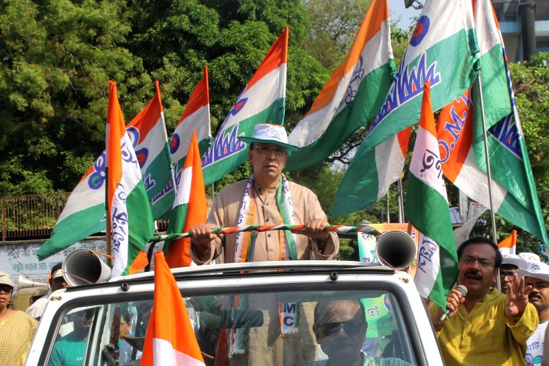 Trinamool Congress candidate for 2014 Lok Sabha Election from Jadavpur parliamentary constituency, Sugato Basu during an election campaign in Kolkata on April 27, 2014.