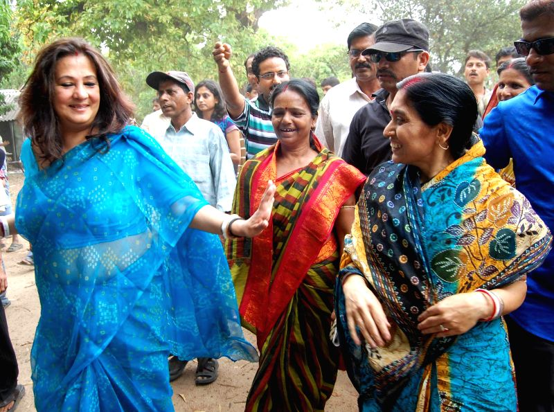 Trinamool Congress candidate for 2014 Lok Sabha Election from Bankura, Moon Moon Sen visits a polling booth in Bankura of West Bengal on May 7, 2014.