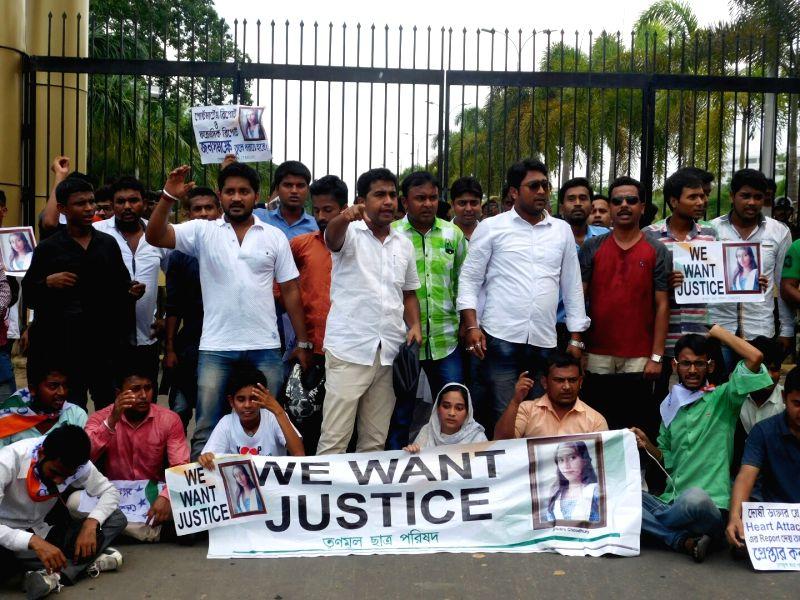 Trinamool Congress Chatra Parishad (TMCP) - Trinamool Congress' students wing activists stage a demonstration at Tripura Assembly to demand justice for Anwara Choudhury, student of a state ... - Anwara Choudhury