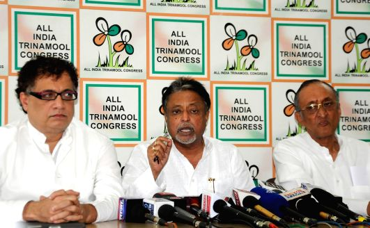 Trinamool Congress General Secretary Mukul Roy during a press conference in Kolkata on April 28, 2014.