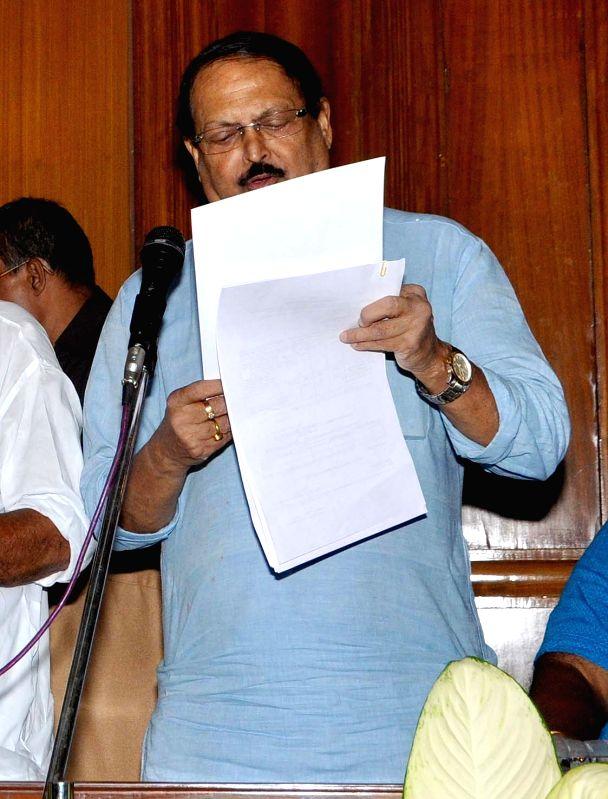 Trinamool Congress leader Subrata Mukherjee takes oath as a legislator at the West Bengal Assembly in Kolkata, on May 28, 2016. - Subrata Mukherjee