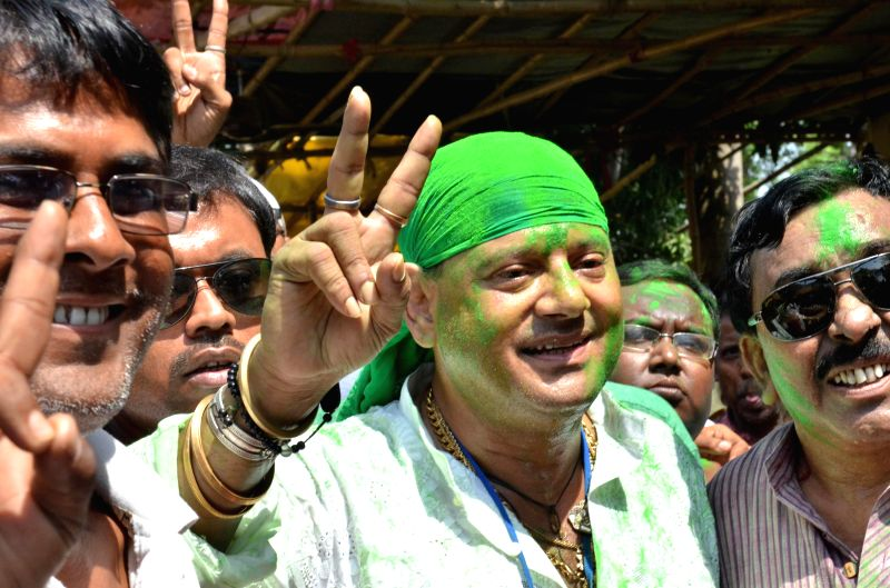 Trinamool Congress leader Tapas Paul celebrates after winning Krishnanagar Lok Sabha seat in Nadia district of West Bengal on May 16, 2014.