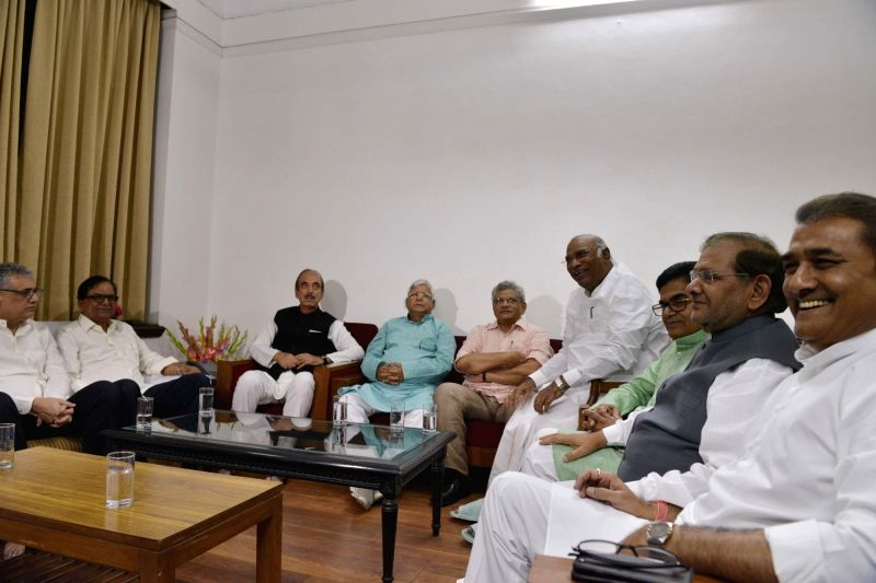 Trinamool Congress MP Derek O'Brien, Congress leaders Ghulam Nabi Azad, Mallikarjun Kharge, RJD chief Lalu Prasad, CPI-M General Secretary Sitaram Yechury, Samajwadi Party (SP) leader Ram ... - Sitaram Yechury, Gopal Yadav, Sharad Yadav and Praful Patel