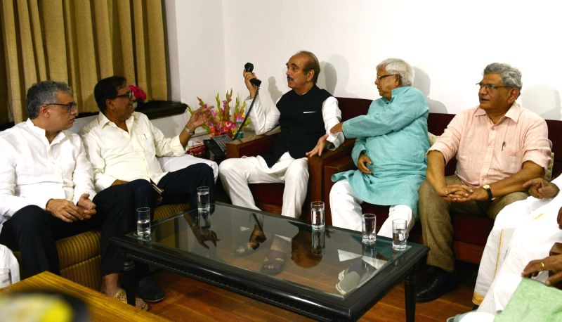 Trinamool Congress MP Derek O'Brien, Congress leader Ghulam Nabi Azad, RJD chief Lalu Prasad and CPI-M General Secretary Sitaram Yechury during a meeting of opposition parties at ... - Sitaram Yechury