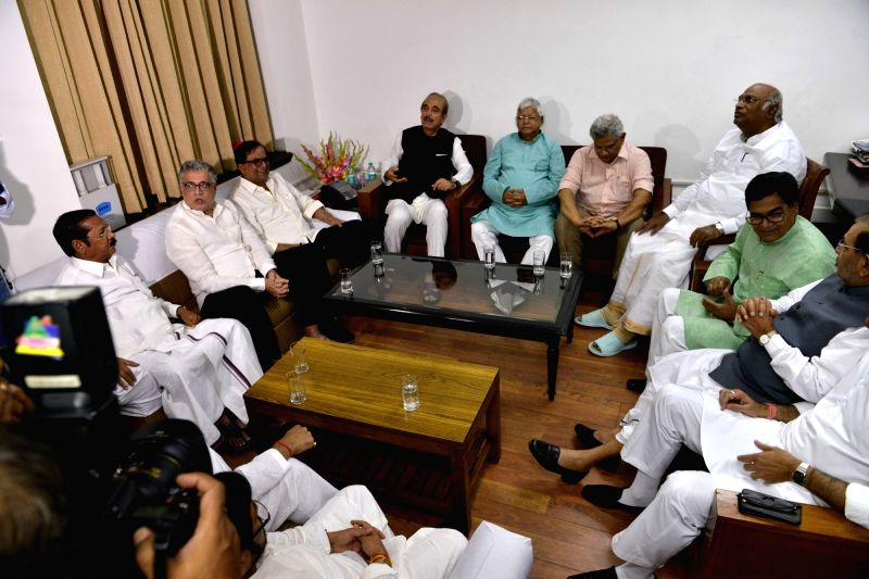 Trinamool Congress MP Derek O'Brien, Congress leaders Ghulam Nabi Azad, Mallikarjun Kharge, RJD chief Lalu Prasad, CPI-M General Secretary Sitaram Yechury, Samajwadi Party (SP) leader Ram ... - Sitaram Yechury, Gopal Yadav and Sharad Yadav