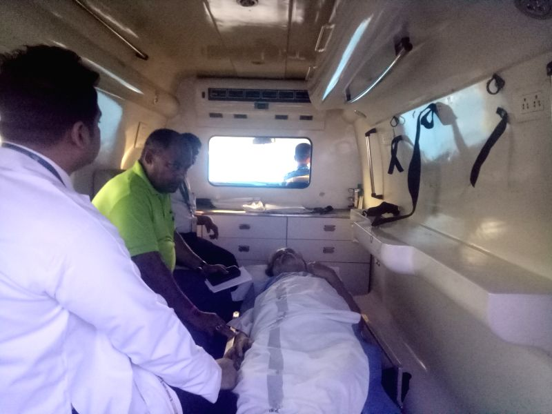 Trinamool Congress MP Sudip Bandopadhyay being taken to hospital after he was granted bail on 19th May by the Odisha High Court on health grounds in Bhubaneswar on May 21, 2017.