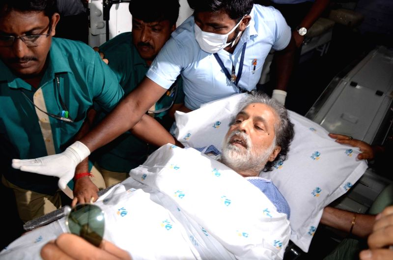 Trinamool Congress MP Sudip Bandopadhyay being taken to hospital in Kolkata on May 21, 2017. Bandyopadhyay was granted conditional bail on health grounds on May 19 after he spent ...