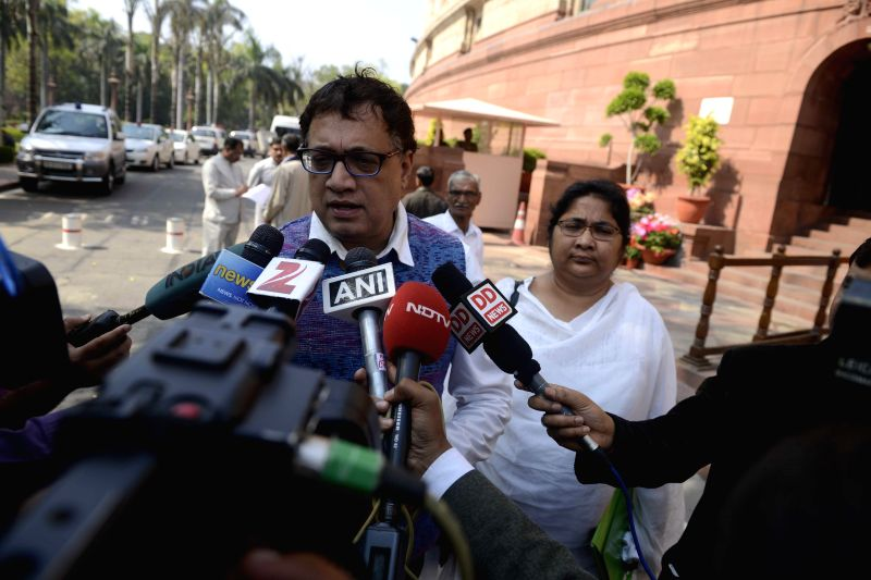 Trinamool Congress spokesperson Derek O' Brien talks to press at the Parliament in New Delhi, on March 17, 2015.