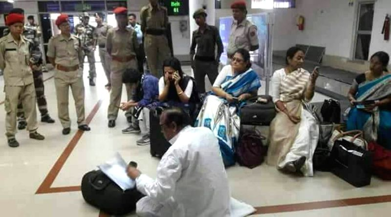 Trinamool Congress (TMC) leaders detained at Silchar airport, Assam, on  Aug 2, 2018. Tension prevailed at Kumbhirgram airport in Silchar in Assam after a Trinamool Congress (TMC) delegation ...
