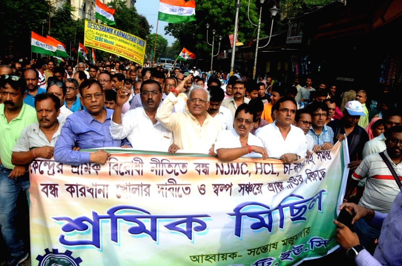 Trinamool Congress Trade Union members stage a demonstration against Union Government in Kolkata, on May 5, 2017.